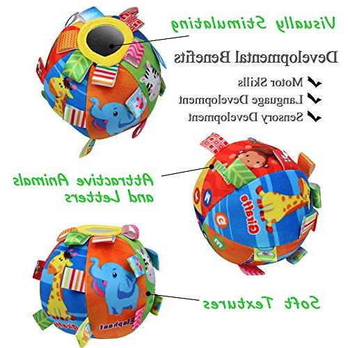 CHAFIN Multicolor Cartoon Plush with Educational Toys Hand Ball Toy Age 6 Months to 3 Yrs