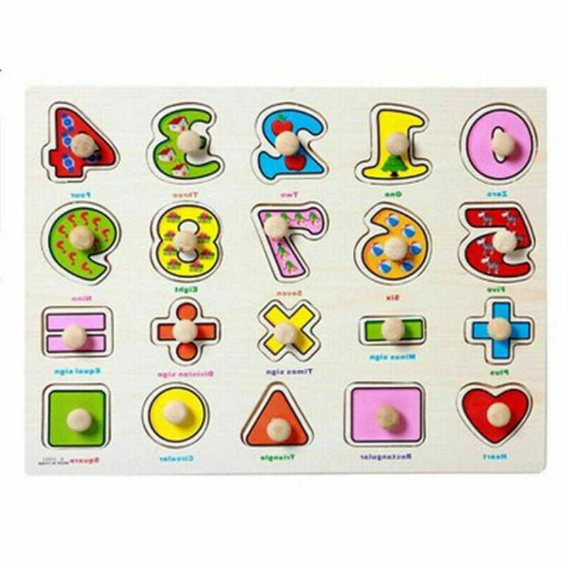 Children Alphabet Numbers wooden learning puzzle