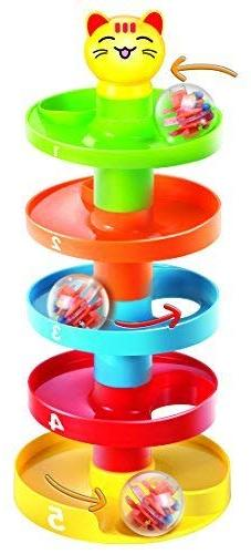 5 Layer Ball Drop and Roll Swirling Tower for Baby and Toddl