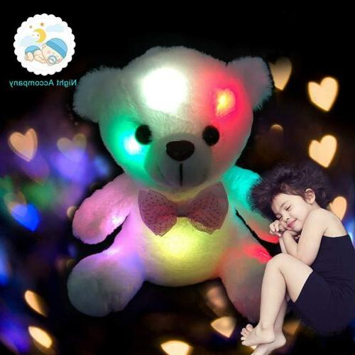 "8"" Cute Plush Toys For Girls Baby LED Light Up Stuffed Bear"