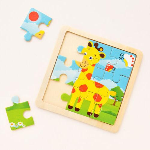 Development Baby 3D Wooden Puzzle Cartoon Educational