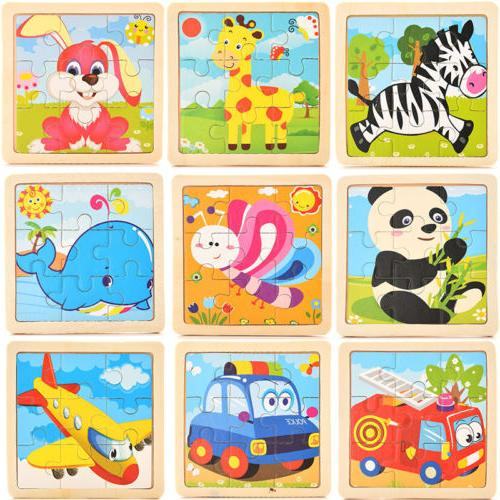 development baby toys 3d wooden puzzle cartoon