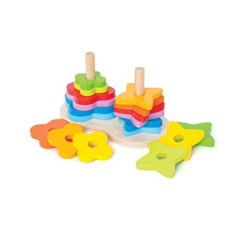 double rainbow stacker wooden ring