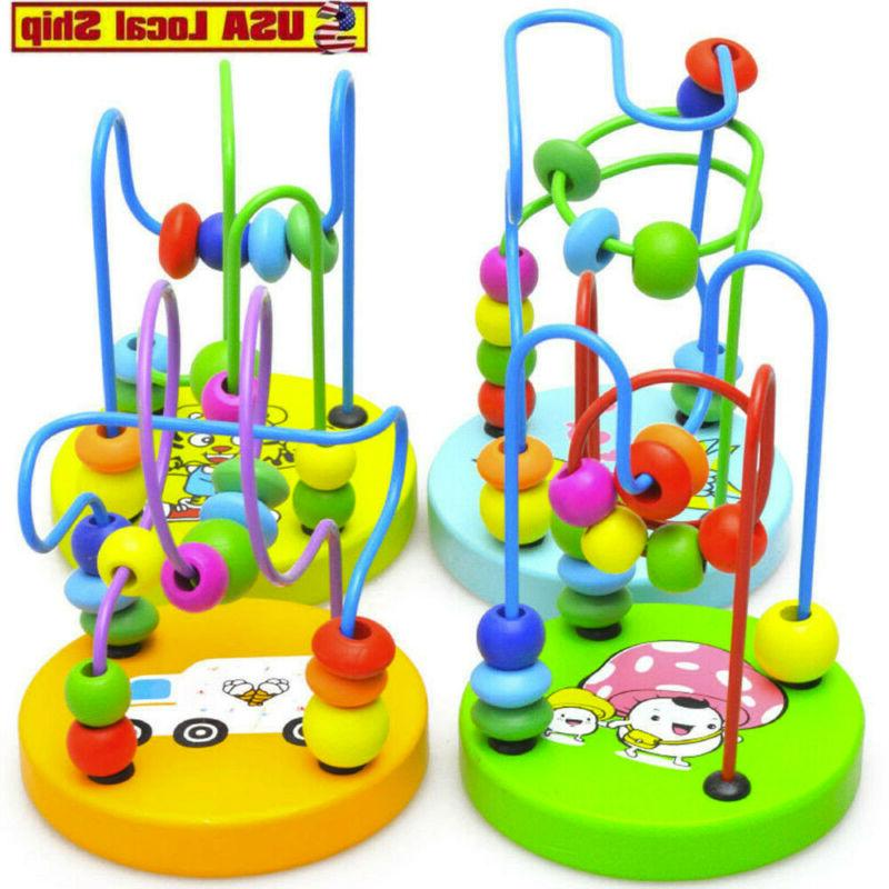 educational baby kids wooden around beads toy