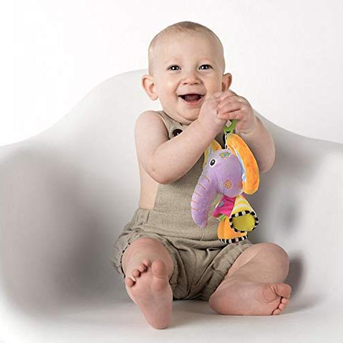 JAMSWALL Elephant Animal Plush Infant Toys, String Toy, Baby Stroller Toy, Fun Musical Plush Animal Pull Sensory Toy, Toddler