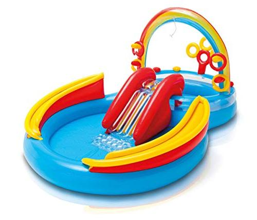 inflatable rainbow ring water play
