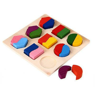 Kids Wooden Geometry Educational Toys Puzzle Montessori Early Learning