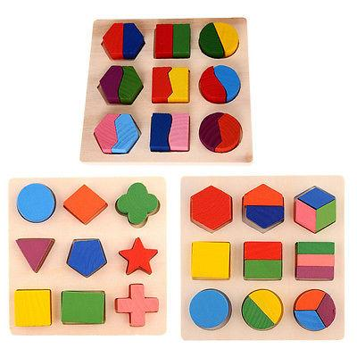 kids baby wooden geometry educational toys puzzle