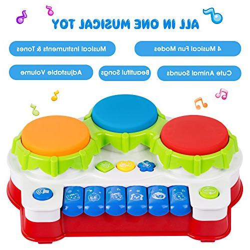 ANTAPRCIS Baby Piano Drums Early Education Electronic with Light and Music, Gift