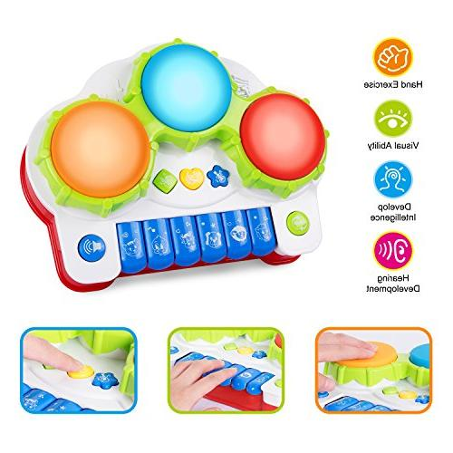 ANTAPRCIS Baby Piano Drums Instrument Early Electronic Keyboard with Light and Music, Toddlers Boys Girls