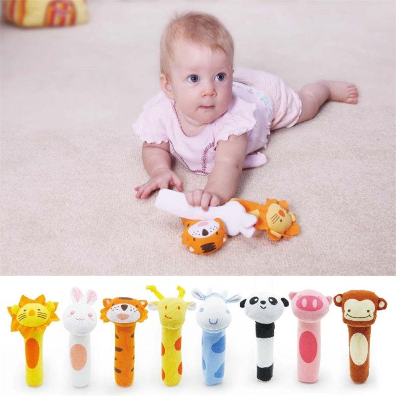 Newborn Baby Animal Plush Rattles Hand Sound Educational Toys