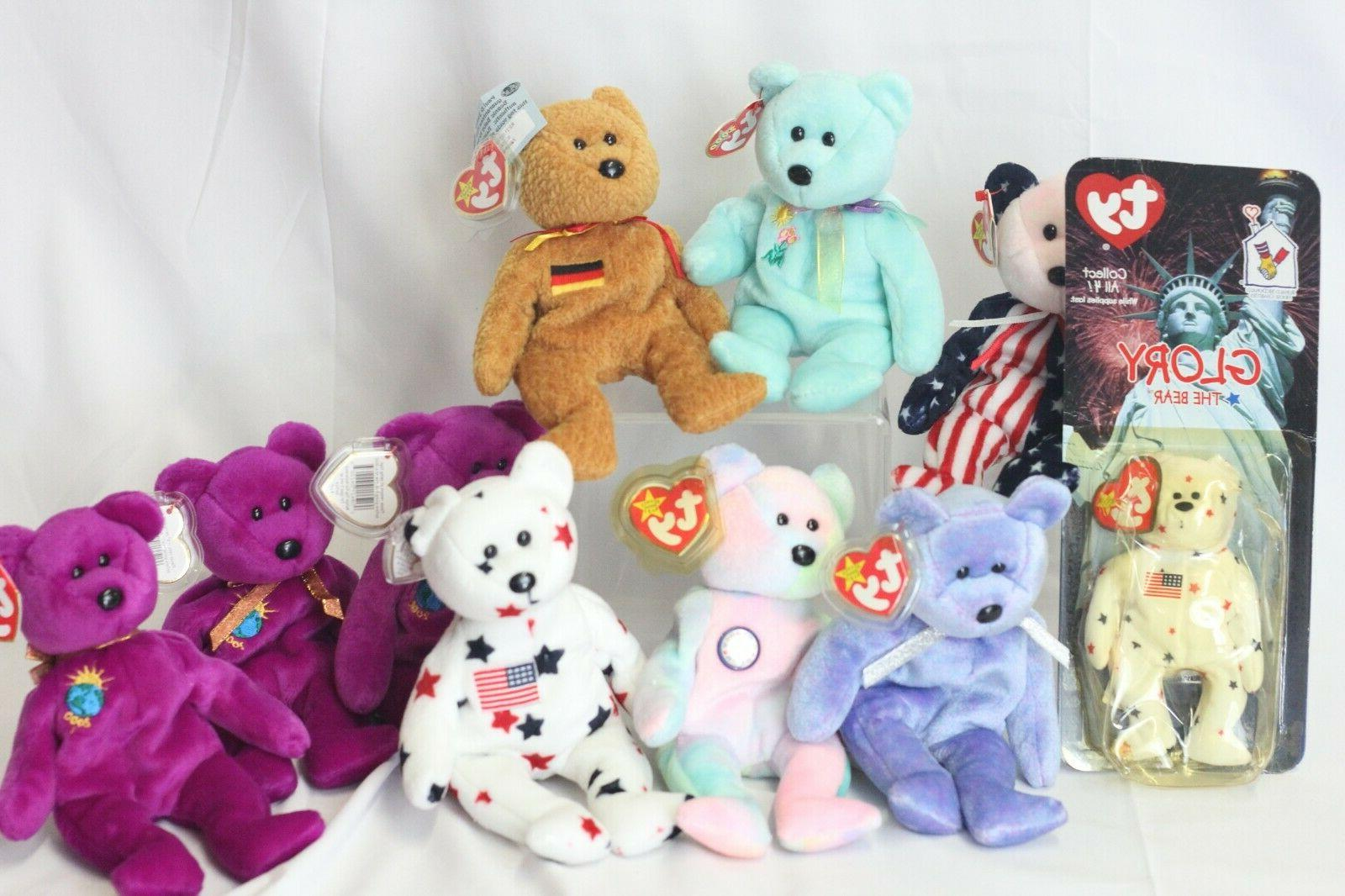 original beanie babies bears lot of 9