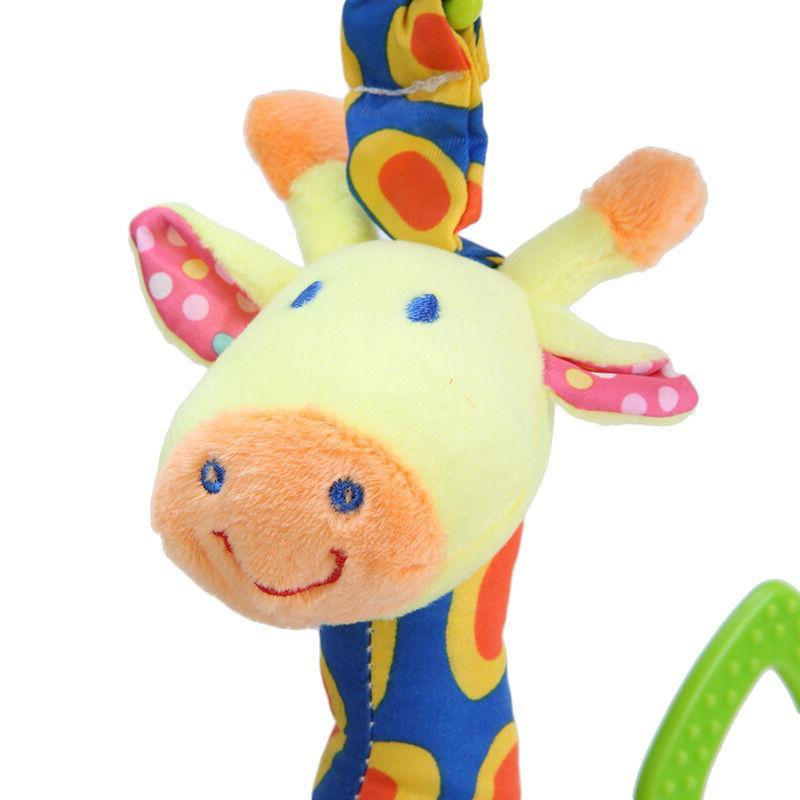 Plush Infant Soft Giraffe Animal Handbells Rattles