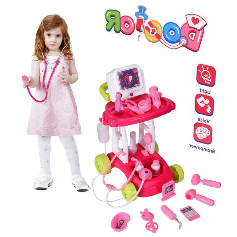 Portable Doctor Nurse Medical Trolley Toys Girl's Pretend Pl