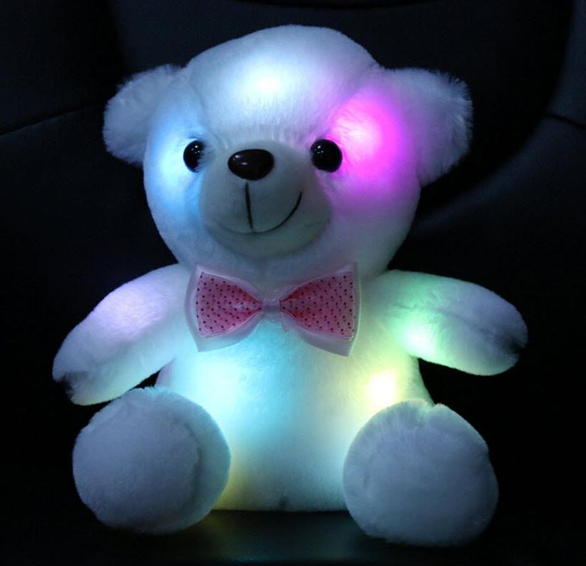Night For Kids Room Children Bedroom LED Stuffed Cute Teddy Bear Toy