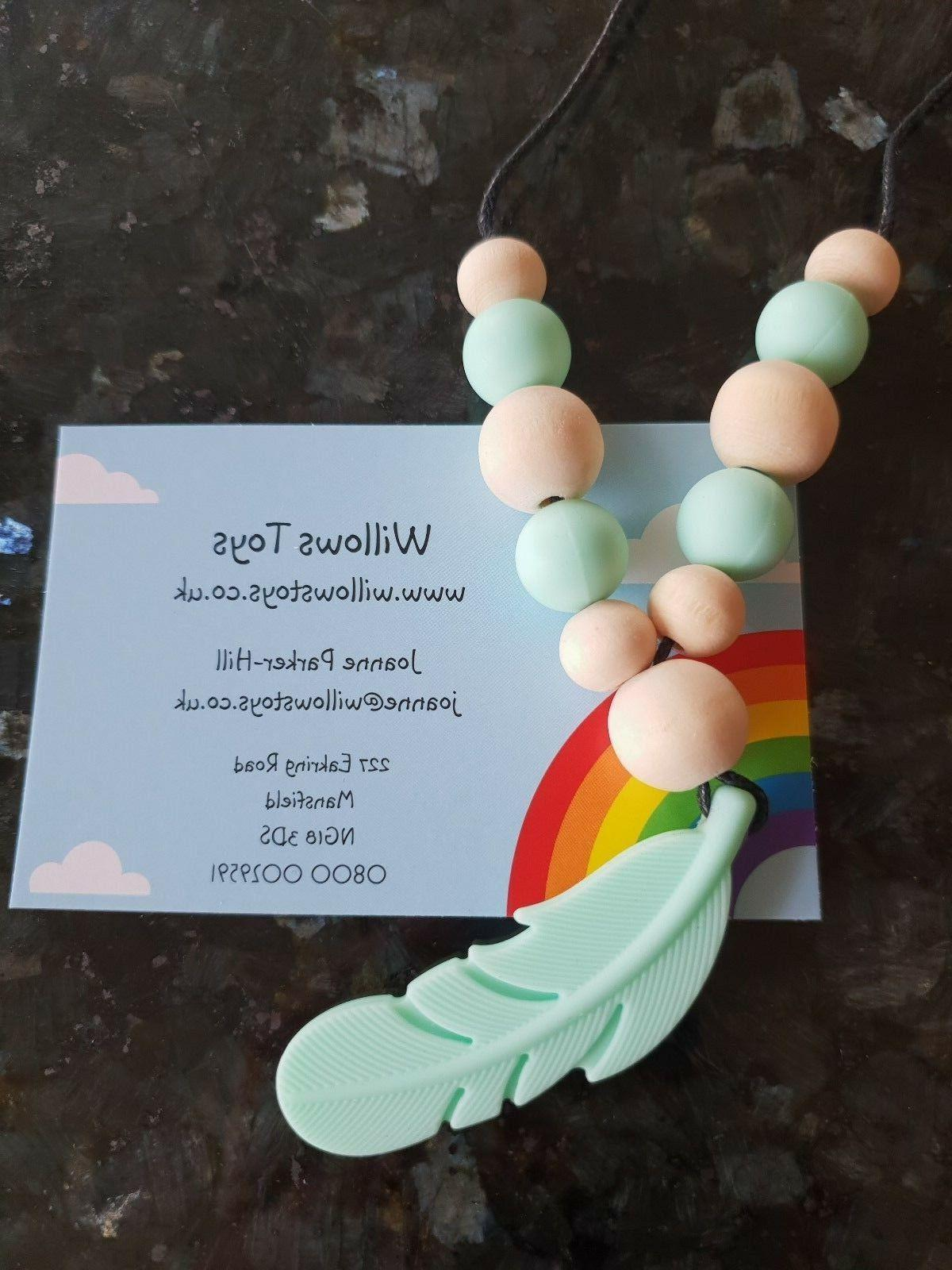 Silicone Teether Safe Chew Toy Feather Beads Teething Necklace Jewellery