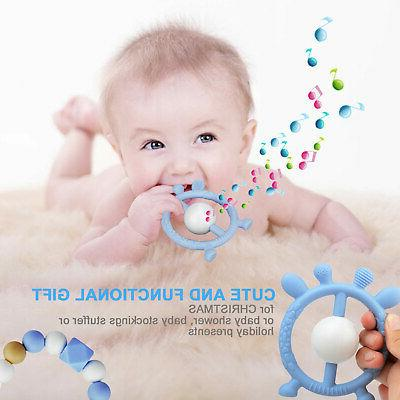 Silicone Chew Toy Baby Kid Teething Teether Chewy Beads Pain