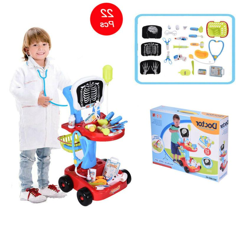 Simulation Doctor Medical Trolley Toy Pretend Playset Kid
