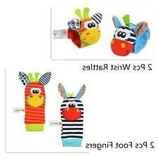 4pcs Sozzy Baby Infant Soft Toy Wrist Rattles Foots Finders