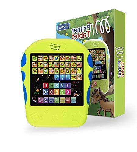 """Spanish Tablet Educational Toy Touch-and-Learn Spanish Alphabet Toy with Number Learning, Spanish Spelling, """"Where Is?"""" Melodies, and Sounds"""