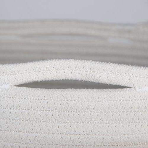 """INDRESSME Baskets Cotton Woven Laundry Basket with Handle Toy Neutral Decor 17"""" x 14.7"""""""