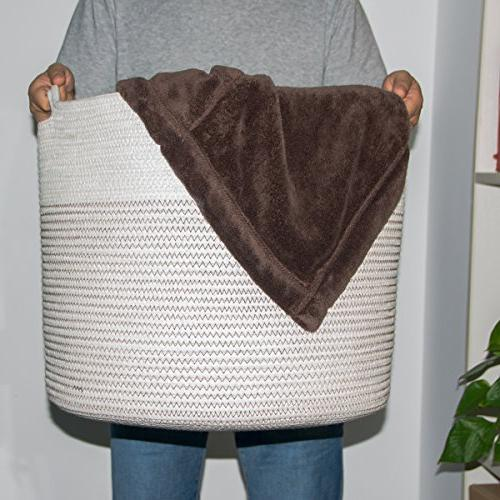 """INDRESSME Extra Large Baskets Cotton Rope Woven Baby Laundry Basket with Toy Neutral Decor Diaper 17"""" x"""
