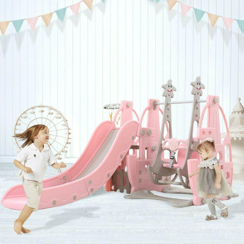 Toddler Climber and Swing Set, 4 in 1 Climber Slide Playset