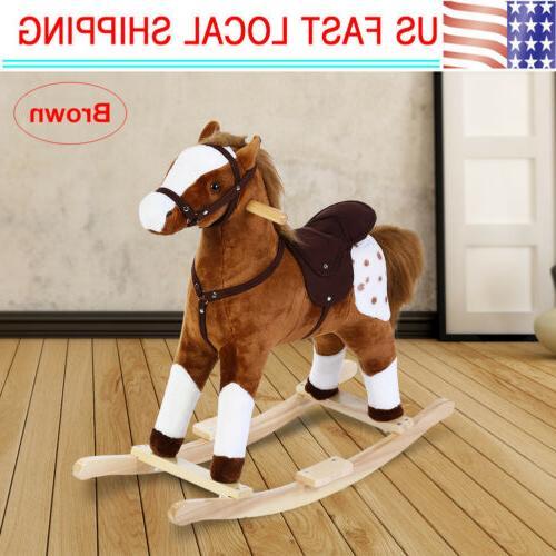 toddler plush rocking horse animal ride on