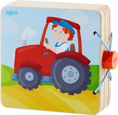 tractor wooden baby book with easy turn