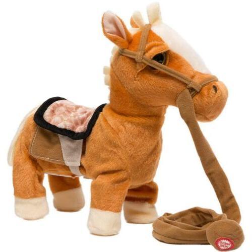walking horse pony musical singing toys plush