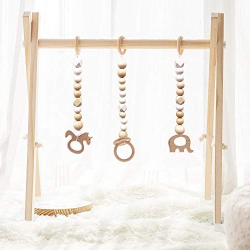 HAN-MM Wood Baby Gym with 3 Teething Play Frame Activity Gym Gift Boy