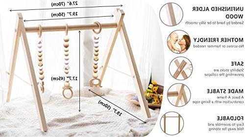 HAN-MM with 3 Wooden Baby Teething Toys Play Frame Gym Hanging Bar Gift Boy