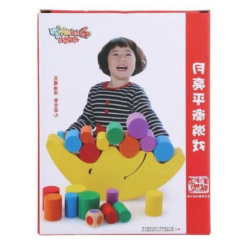 Wood Moon Toy Blocks Kids Toys Educational Balance