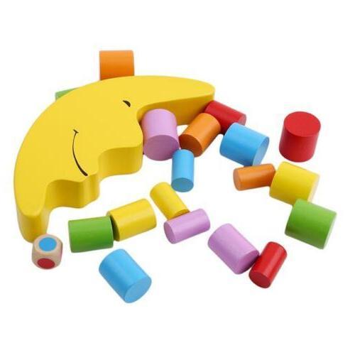 Wood Montessori Moon Blocks Kids Educational Balance