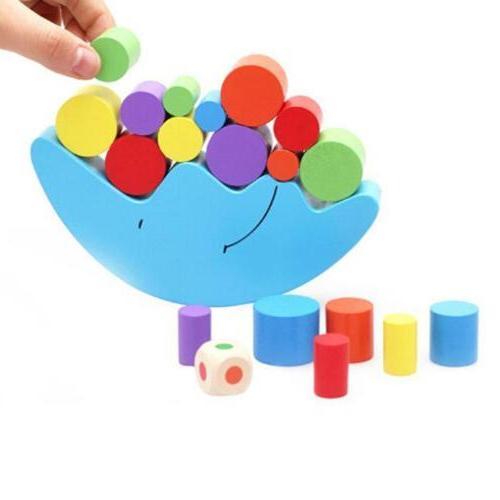 wood montessori moon toy blocks kids baby