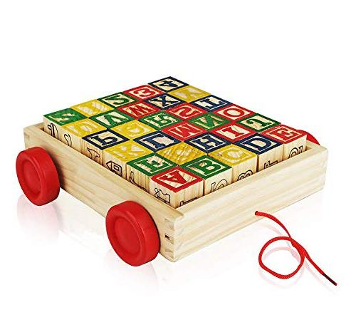 Wooden Alphabet Best Wagon ABC Wooden Letters Come in Pull Storage Movement, Entertaining Toy Toddlers, Pieces