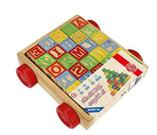 Wagon ABC Wooden Letters Come in a Pull Storage Toddlers, 30 Pieces Set.