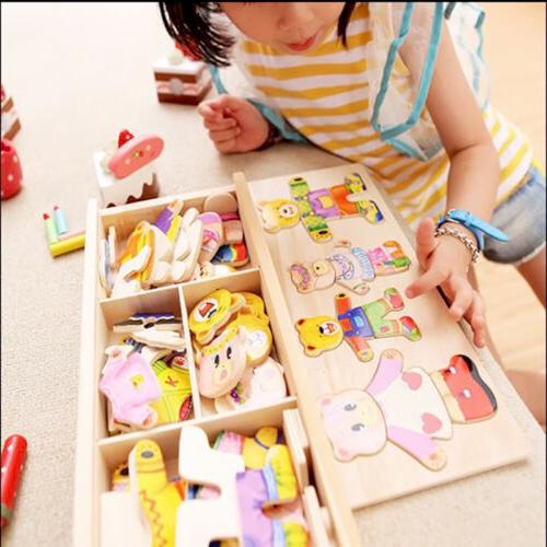 wooden baby bear changing clothes puzzle set