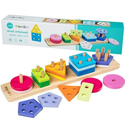 wooden educational shape recognition geometric