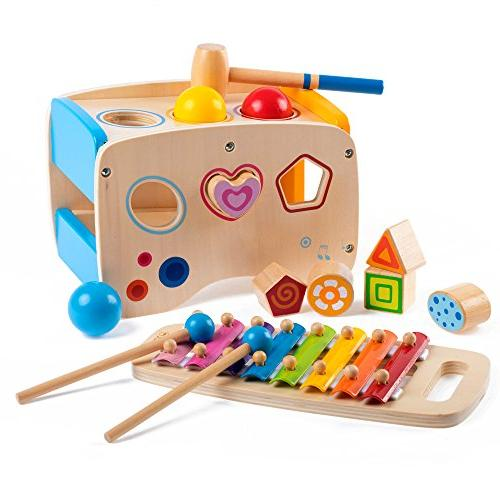 wooden learning hammering pounding toys