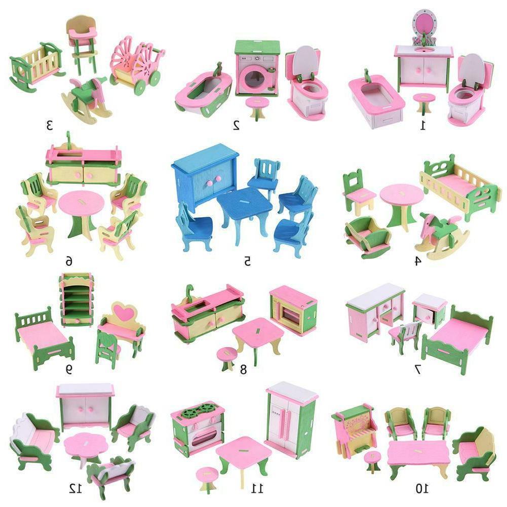 Wooden Miniature Dollhouse Simulation Furniture Set Toys