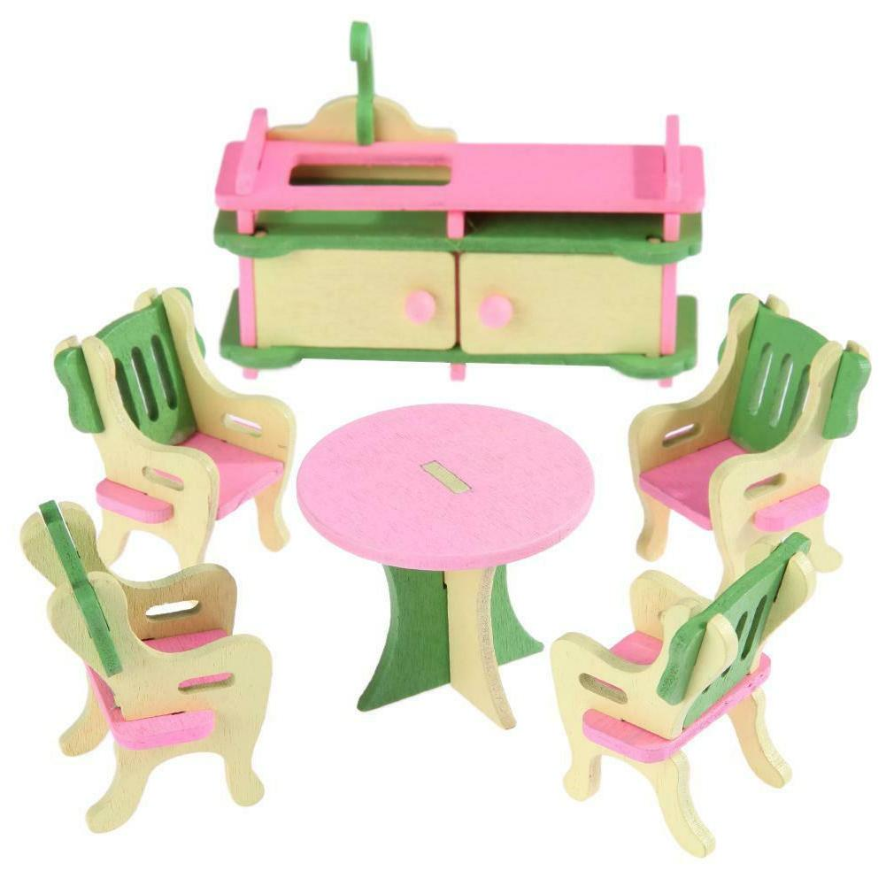 Wooden Dollhouse Simulation Furniture Set Toys