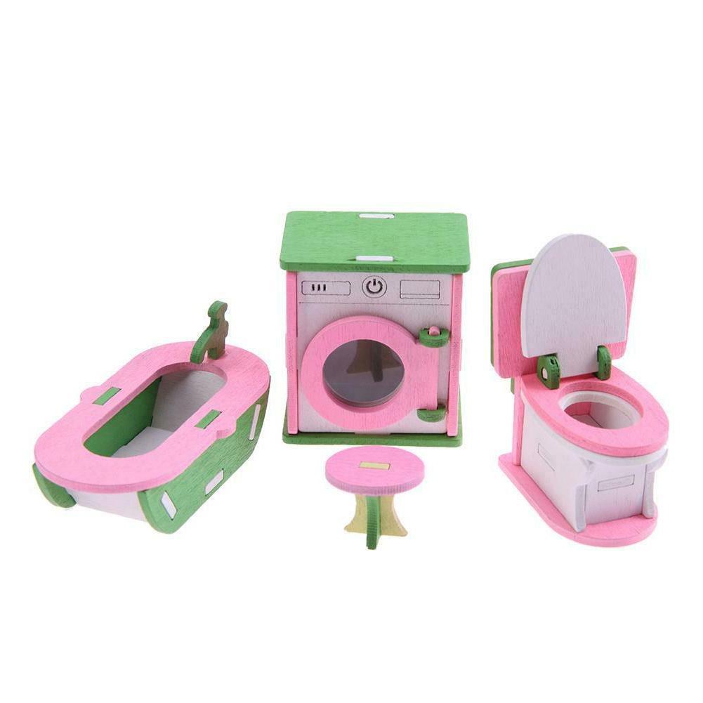 Wooden Miniature Dollhouse Furniture Set Toys WT7n