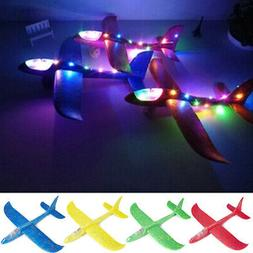 LED Hand Throw Flying Glider Planes Outdoor Foam Aeroplane C