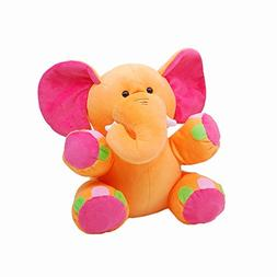 Linzy Lila Elephant Rattle Plush Toy, Orange 8.5""