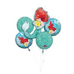 Disney Little Mermaid Foil Balloon Bouquet, Pack of 5