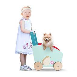 Labebe Baby Walker with Wheel, Green Hedgehog Printed Wooden