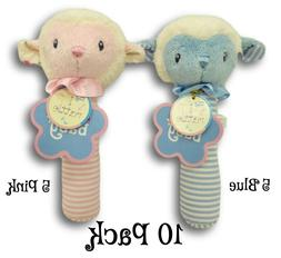 Lot of 10 Aurora Baby Plush Lamb Rattle for Bulk Crafts Baby