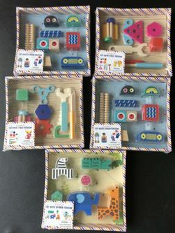 Lot Of 5 - New! Wooden Toy ~ Robot, Animal & Wooden Tool Set