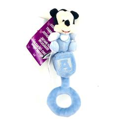 Disney Parks Mickey Mouse Baby Rattle Plush Toy Blue